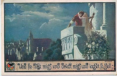 Vintage Postcard of a Couple on a Balcony, Germany $10.00