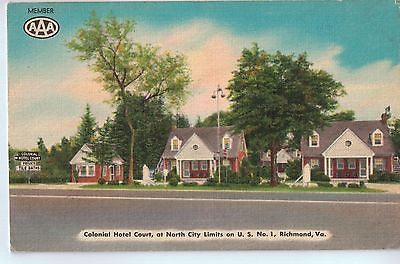 Vintage Postcard of Colonial Hotel Court, on US 1, Richmond, VA $10.00