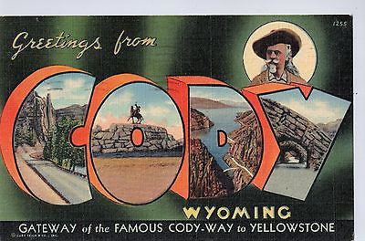 Vintage Postcard of Greetings From Cody, Wyoming $10.00