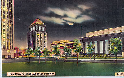 Vintage Postcard of Civic Center at Night, St. Louis, Missouri $10.00