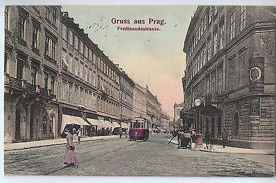 Vintage Postcard of Gruss aus Prag.  Ferdinandsstrasse  Card Dated 1906 $10.00