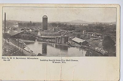 Vintage Postcard Looking South From City Hall Tower, Wausau, WI $10.00