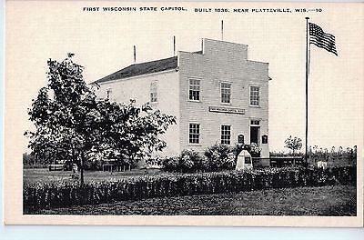 Vintage Postcard of The First Wisconsin State Capitol near Platteville, WI $10.00