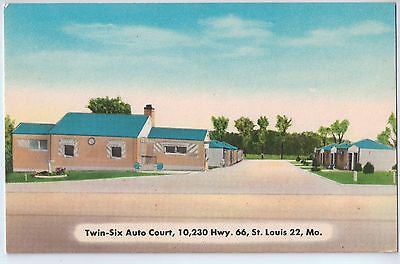 Vintage Postcard of Twin-Six Auto Court, St. Louis, MO $10.00