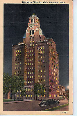 Vintage Postcard of The Mayo Clinic by Night, Rochester MN $10.00