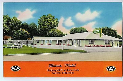Vintage Postcard of The Illinois Motel City Limits of Corinth, Mississippi $10.00