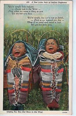 Vintage Postcard of A Sad Little Pair of Indian Papooses $10.00