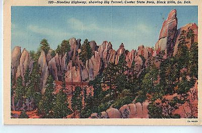 Vintage Postcard of Needles Highway, Showing Big Tunnel, Custer State Park, SD $10.00