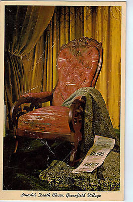 Vintage Postcard of Lincoln's Death Chair, Greenfield Village $10.00