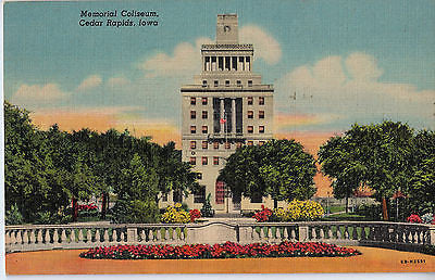 Vintage Postcard of Memorial Coliseum, Cedar Rapids, Iowa $10.00