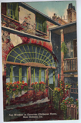 Vintage Postcard of Fan Window in Governor Claiborne Home, New Orleans, LA $10.00
