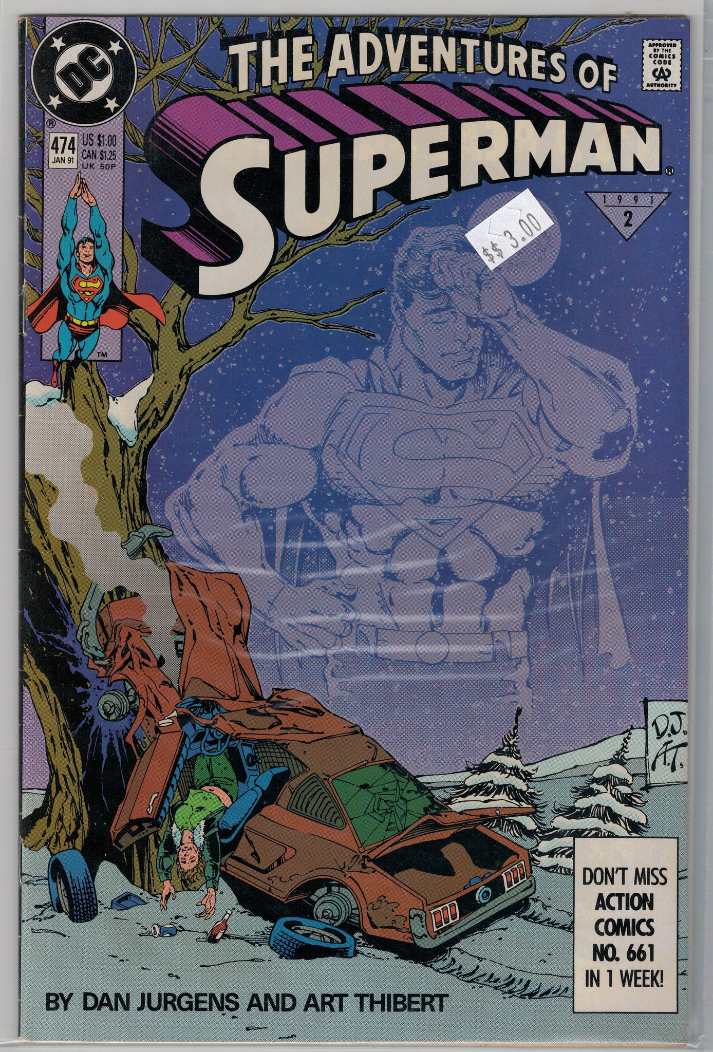 Adventures Of Superman Issue 474 Dc Comics 300 Schofield Coin - Dc-comics-us-map