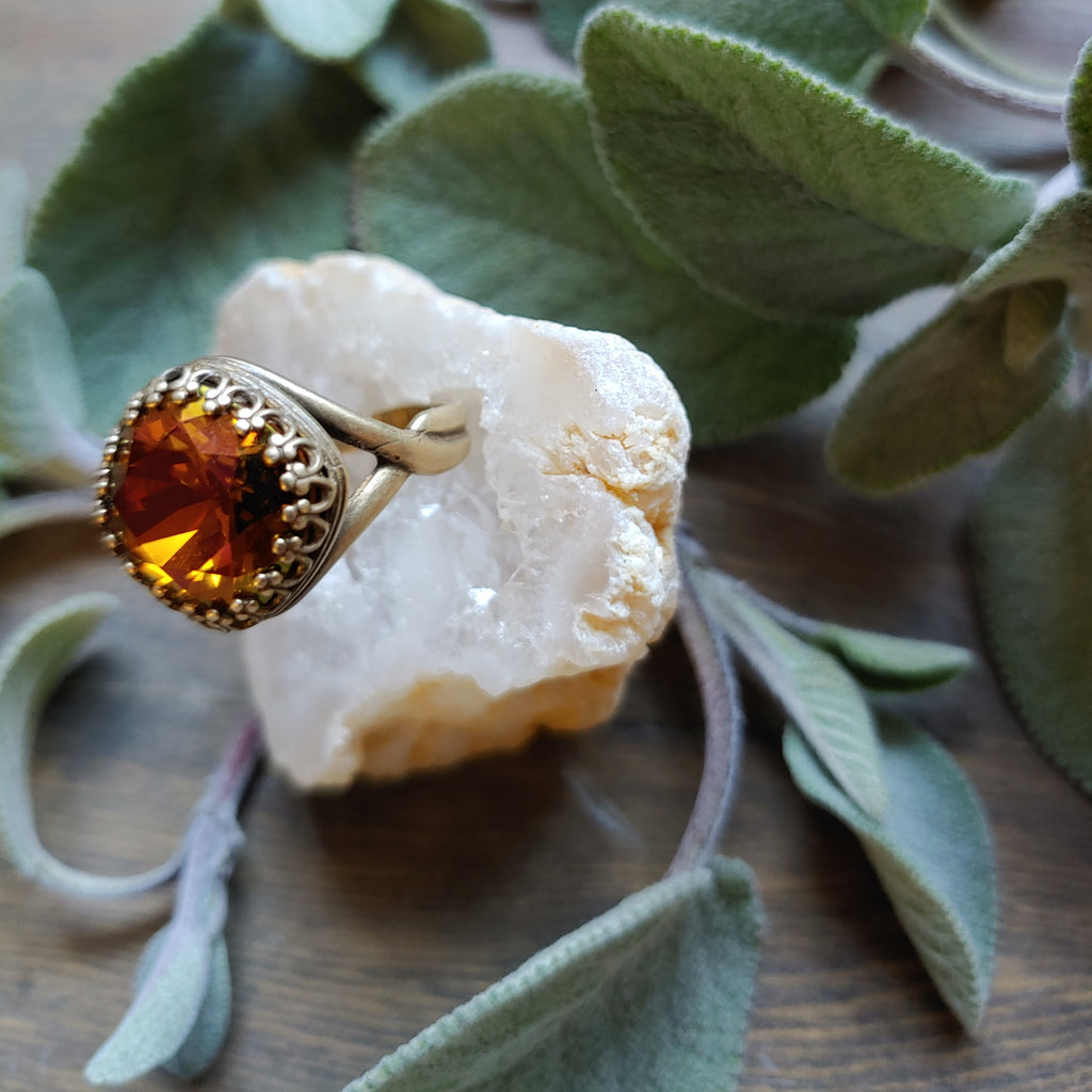 Swarovski Crystal Cognac Cocktail Ring