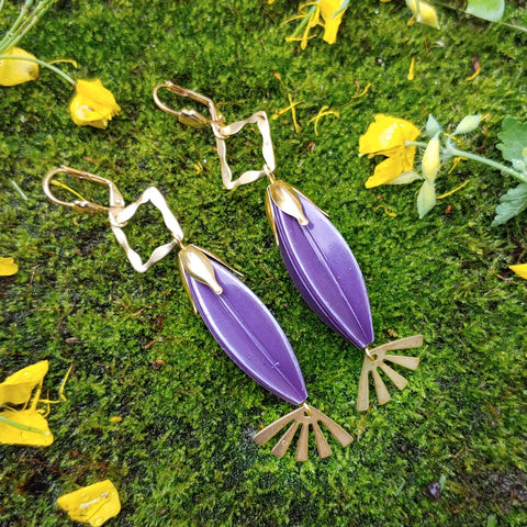 Purple Aura Art Deco Ear Adornments