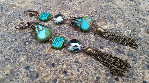 Turquoise Nugget and Tile Tassle Earrings
