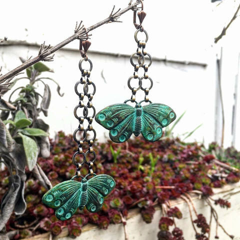 Green Patina Butterfly Wings