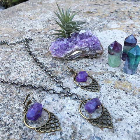 Peacock Amethyst Jewelry Set