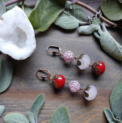 Feeling the Love Rose Quartz Earrings