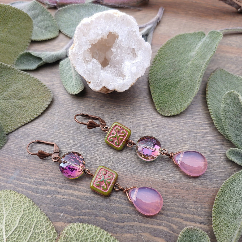 Pink Brocade Earrings