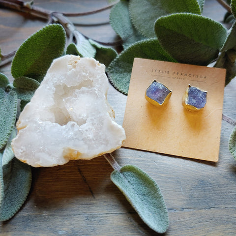 24 K Gold & Raw Gemstone Earrings