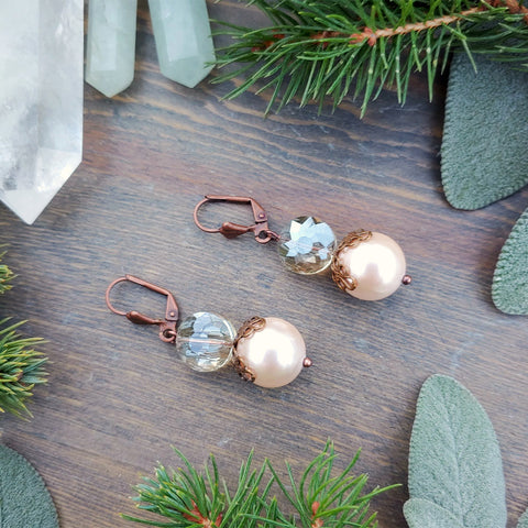 Sparkle & Blush Elegant Pearl Earrings