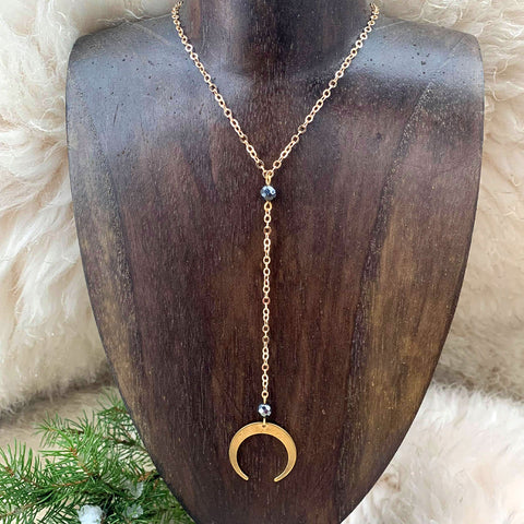 Crescent Moon Hematite Collarbone Necklace