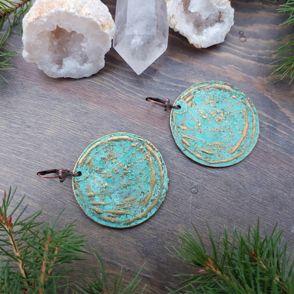 Green Patina Secret Garden Earrings