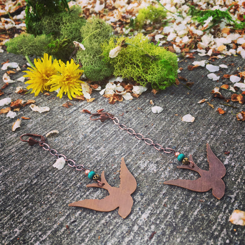 Snow Birds Asymmetrical Earrings