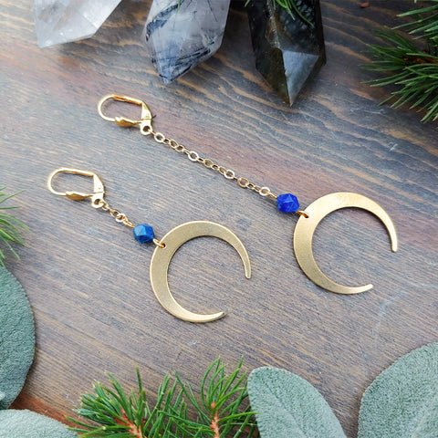 By the Light of the Lapis Moon Earrings