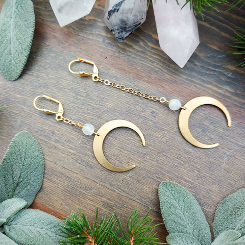 Rainbow Moonstone + Crescent Earrings