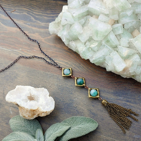 Moss Agate Wish Lantern Necklace