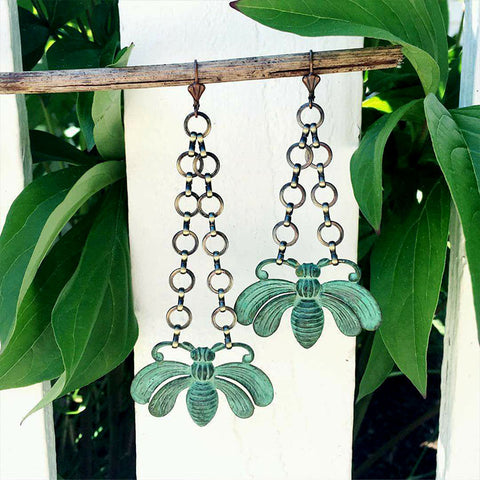 Green Patina Queen Bee Earrings