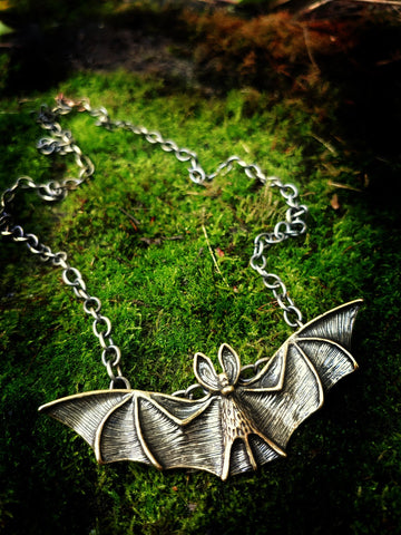Antiqued Brass Bat Necklace