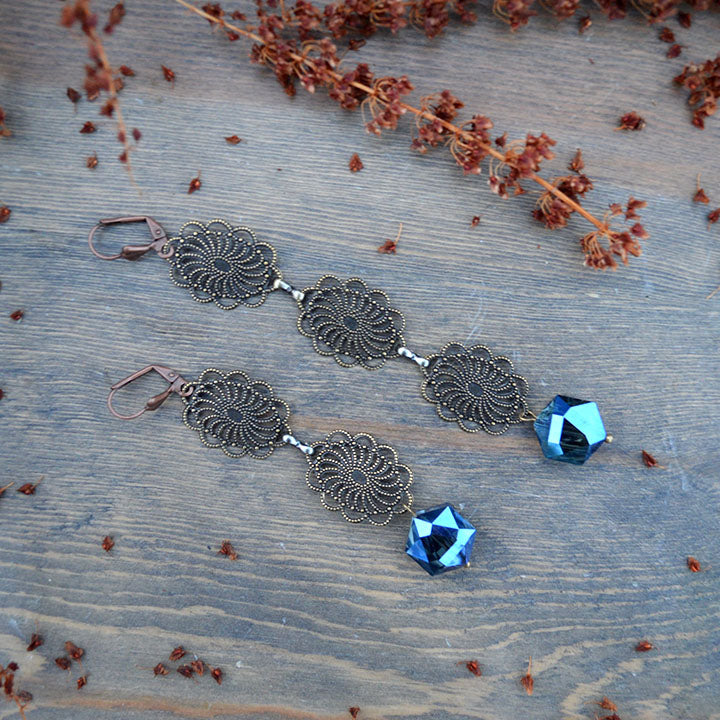 Frosted Filigree Asymmetrical Earrings