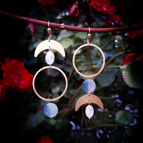 Kyanite Crescent Moon Earrings