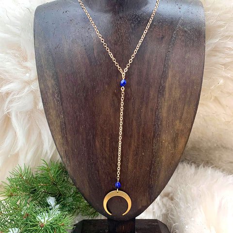Copy of Crescent Moon & Lapis Collarbone Necklace