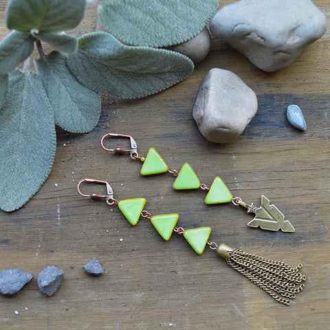 Mossy Walks Chevron Earrings