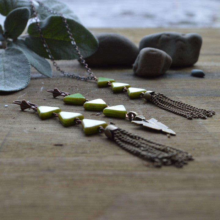 Mossy Walks Chevron Necklace
