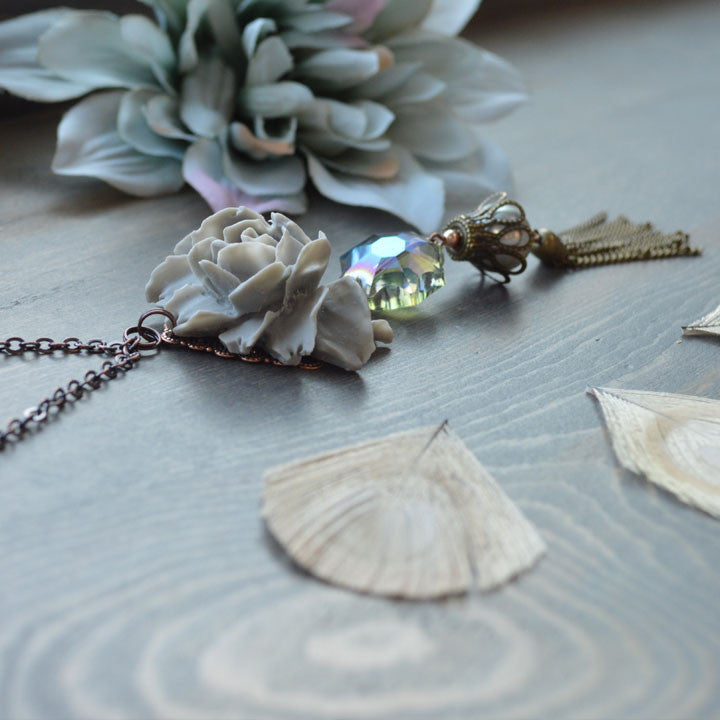 Smoky Rose Blossom Necklace
