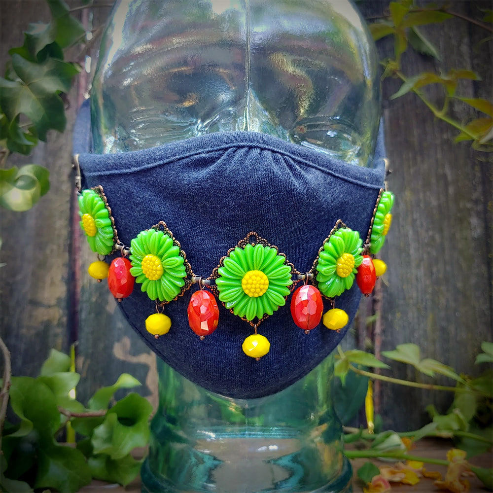 Rebel Yell Flower Child Face Mask Chain