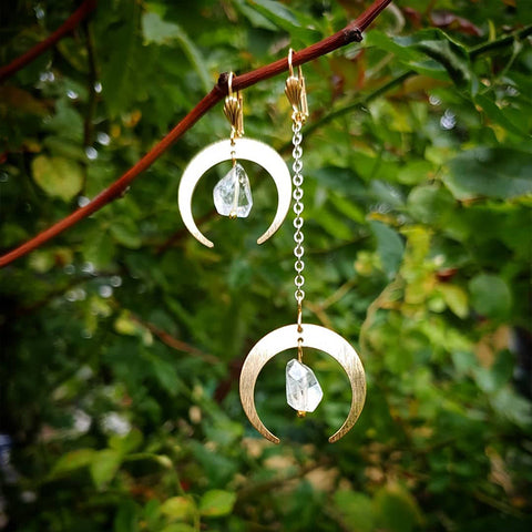 Crescent Moon + Quartz Earrings