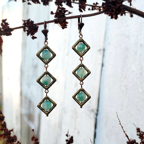 Moss Agate Wish Lantern Earrings