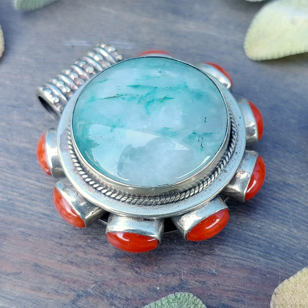 Forest by the Sea Moss Agate & Coral Pendant- Reserved for Laura McDowell