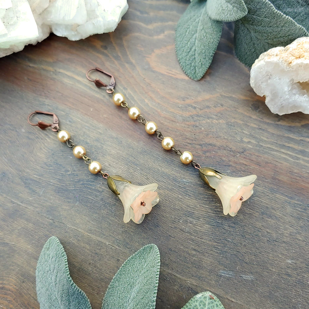 Peach Champagne Pearl Bell Earrings
