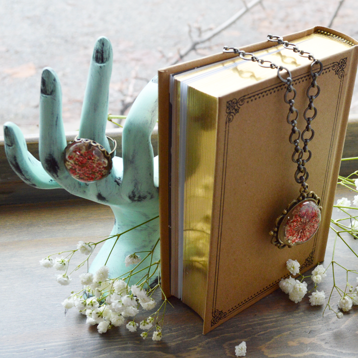 Flower the Globe in Poppy Long Compass Necklace