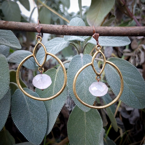 Rose Quartz Goddess Hoops