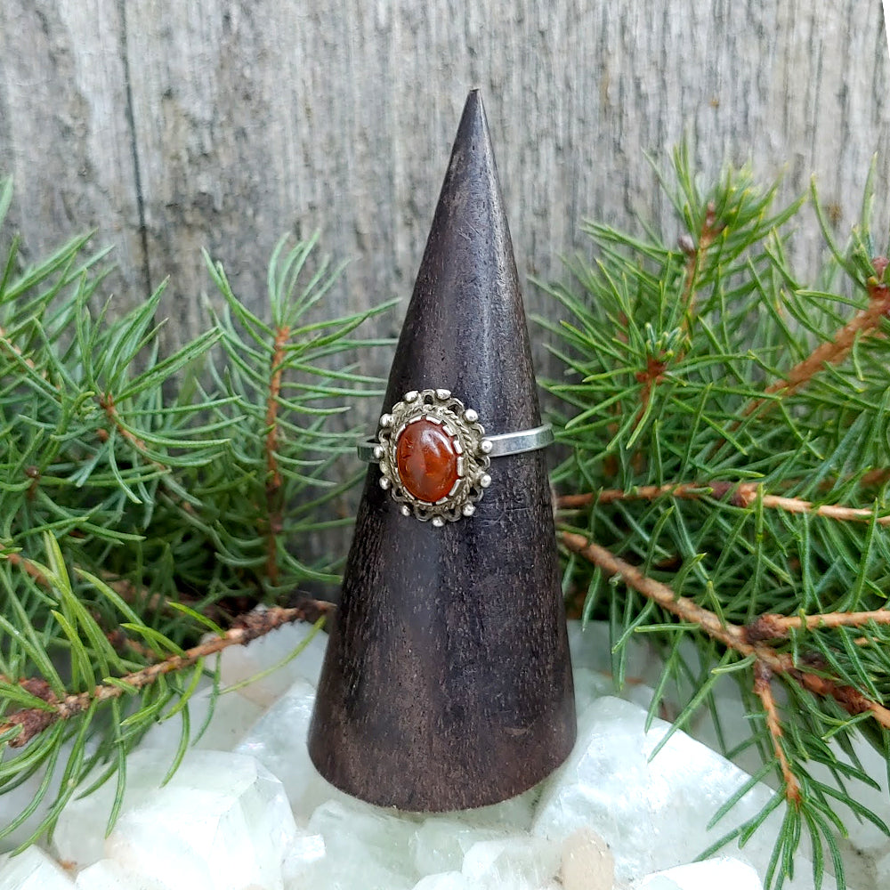 Warrior Lace Vintage Amber Ring