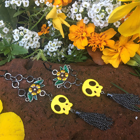 Sweet Lemon Skull Earrings