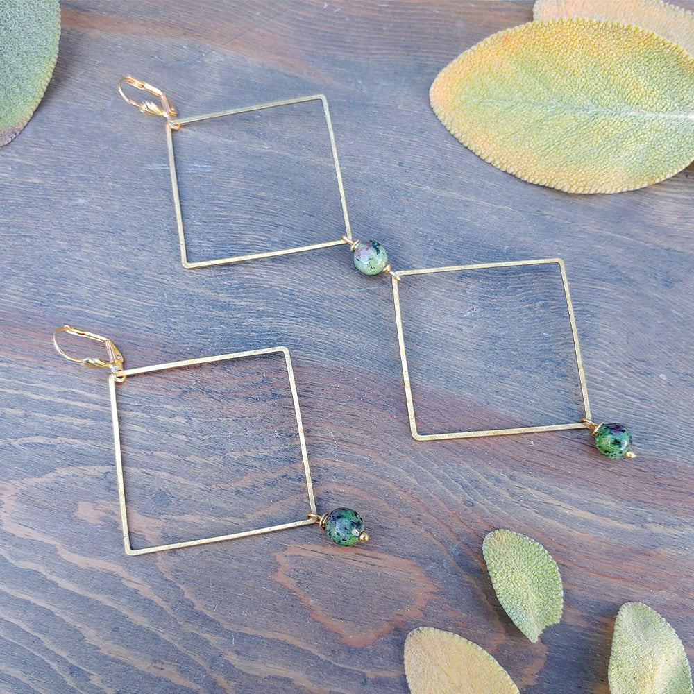 Double Trouble Ruby Zoisite Earrings