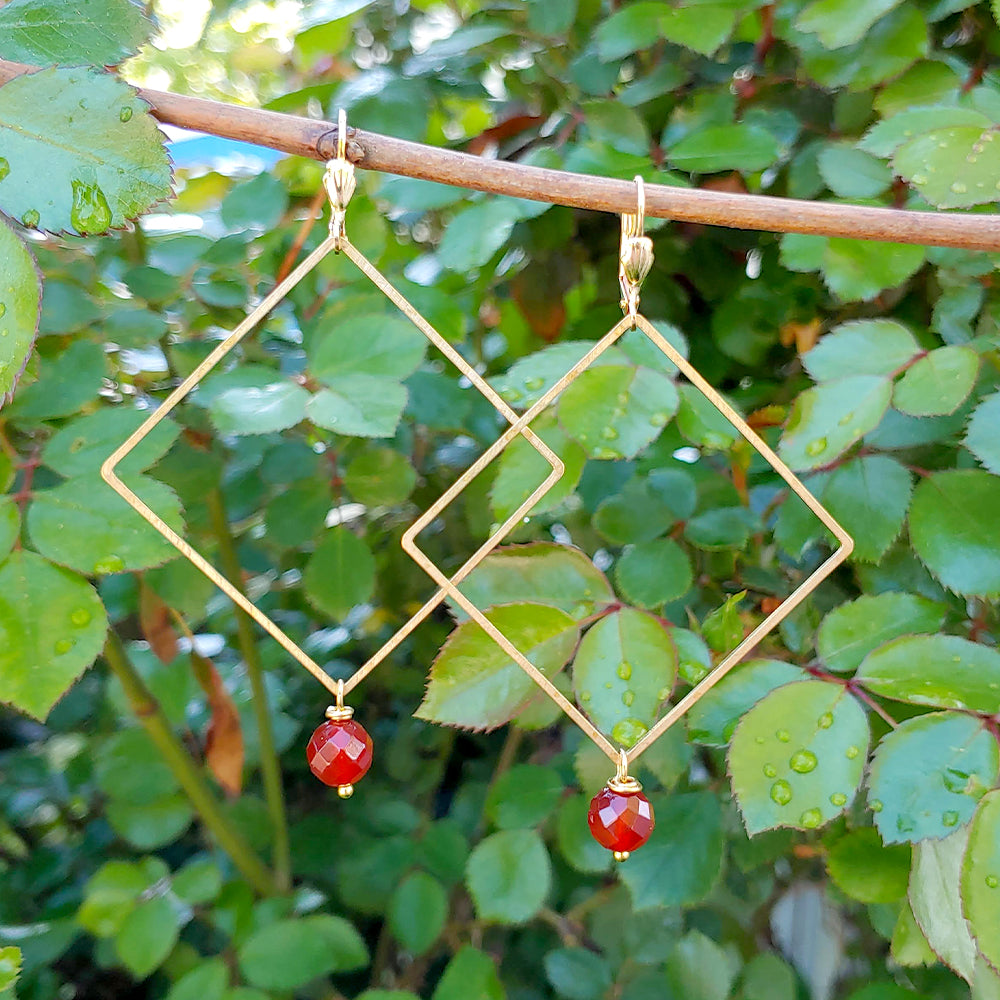 Carnal Carnelian Un-Square Earrings